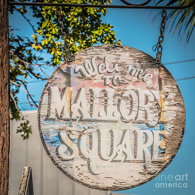 Mallory Square Photograph - Welcome To Mallory Square Key West 2  - Square - Hdr Style by Ian Monk