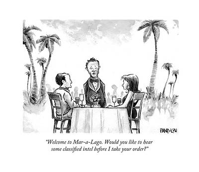 Corey Pandolph Drawing - Welcome To Mar-a-lago. Would You Like To Hear by Corey Pandolph