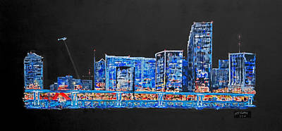 Skyline Painting - Welcome To Miami by Andrew Roy Thackeray