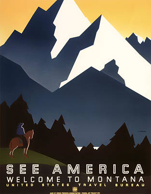 Ad Campaign Drawing - Welcome To Montana by Mountain Dreams