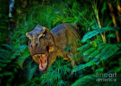 Welcome To My Park Tyrannosaurus Rex Art Print by Olga Hamilton