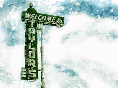 Mixed Media - Welcome To Taylors Neon Bar Sign by Guy Dicarlo