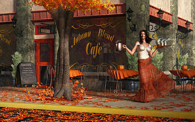 Warm Digital Art - Welcome To The Autumn Blend Cafe by Daniel Eskridge