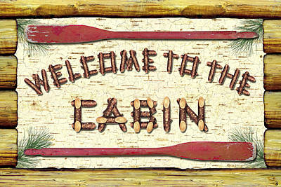 Welcome To The Cabin Art Print by JQ Licensing