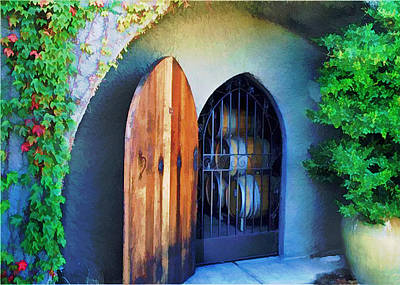 Wine Barrel Digital Art - Welcome To The Winery by Elaine Plesser