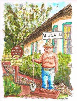 Smokey Painting - Smokey, Welcome To Williams, Route 66, Williams, Arizona by Carlos G Groppa