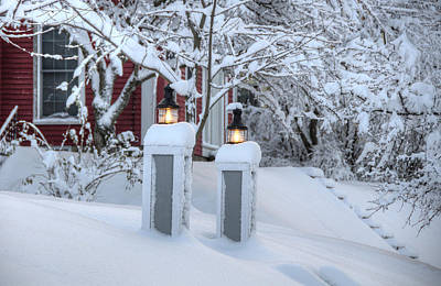 Snowstorm Photograph - Welcoming Lights In Storm by Donna Doherty