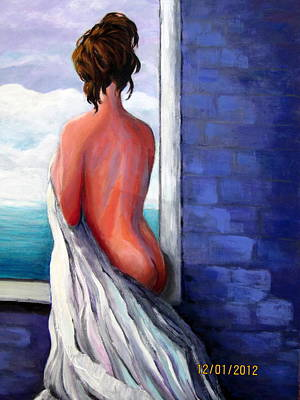 Woman In Shower Painting - Welcoming The New Day by Rosie Sherman