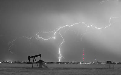 Weld County Dacona Oil Fields Lightning Thunderstorm Bwsc Art Print
