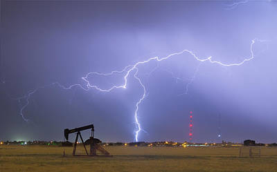 Weld County Dacona Oil Fields Lightning Thunderstorm Art Print