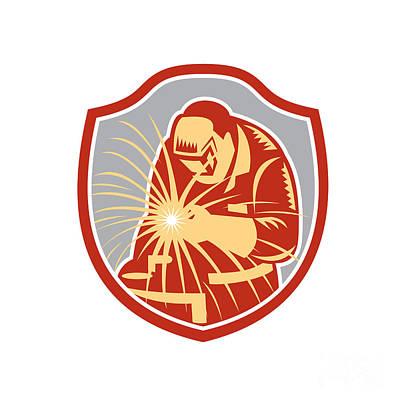 Welder Welding Working Shield Retro  Art Print by Aloysius Patrimonio