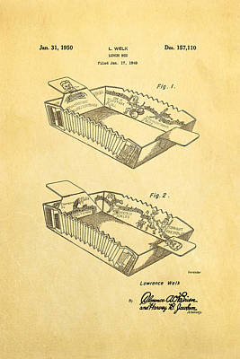 Accordion Photograph - Welk Accordion Lunch Box Patent Art 1950 by Ian Monk
