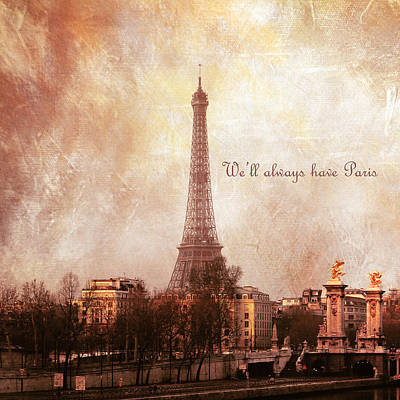 Lkg Photograph - We'll Always Have Paris by Laura George