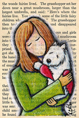 White Terrier Mixed Media - We'll Both Miss You by Kim Niles