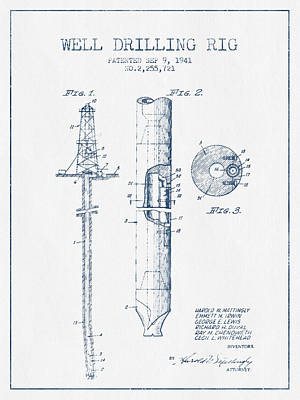 Well Drilling Rig Patent From 1941 -  Blue Ink Print by Aged Pixel