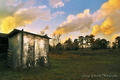 Old Country Roads Digital Art - Old Well House And Golden Clouds by Pamela Williams