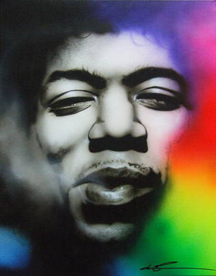 Jimi Hendrix - ' Well I Stand Up Next To A Mountain ' Art Print