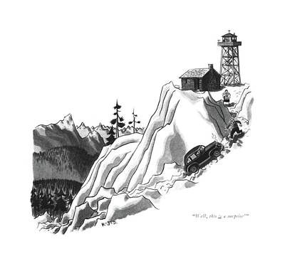 Mountain Drawing - Well, This Is A Surprise! by Robert J. Day