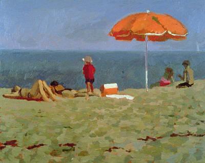 Umbrellas On The Beach Painting - Wellfleet Beach  by Sarah Butterfield