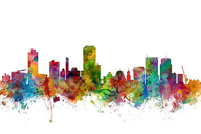 Wellington New Zealand Skyline Art Print