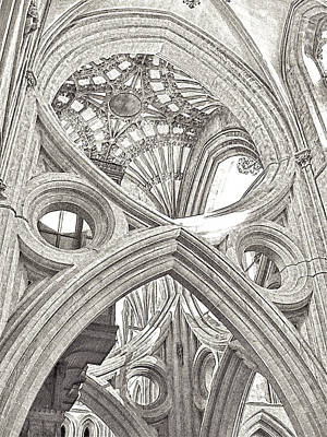 Photograph - Wells Cathedral Interior Lines And Shapes Sketch Grey by Menega Sabidussi