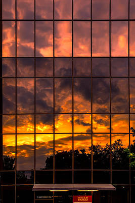 Photograph - Wells Fargo Sunset Reflection by John Haldane