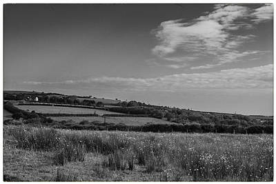 Clouds Over Pasture Photograph - Welsh Countryside In Mono by Georgia Fowler