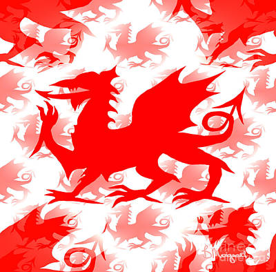 Digital Art - Welsh Dragon by Barbara Moignard