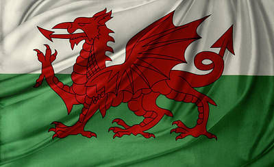 Waving Flag Photograph - Welsh Flag by Les Cunliffe