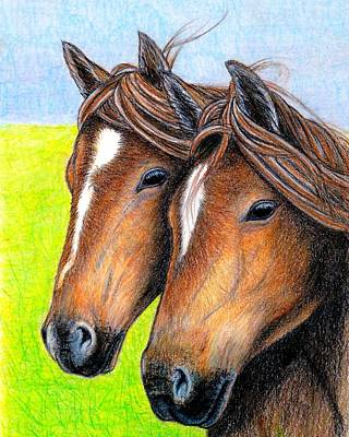 Painting - Welsh Mountain Ponies by Jo Prevost
