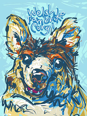 Cattle Dog Drawing - Welsh Pembroke Corgi by Brett LaGue