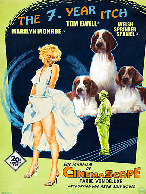 Painting - Welsh Springer Spaniel Art Canvas Print - The Seven Year Itch Movie Poster by Sandra Sij