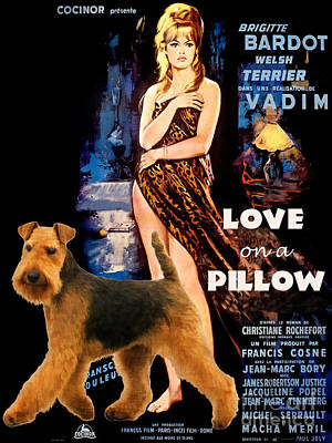 Painting - Welsh Terrier Art Canvas Print - Love On A Pillow Movie Poster by Sandra Sij