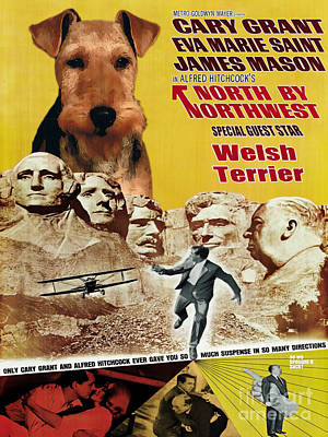 Painting - Welsh Terrier Art Canvas Print - North By Northwest Movie Poster by Sandra Sij