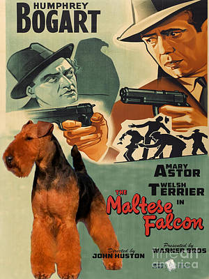 Painting - Welsh Terrier Art Canvas Print - The Maltese Falcon Movie Poster by Sandra Sij
