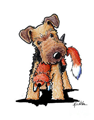 Kiniart Drawing - Welsh Terrier With Toy Fox by Kim Niles