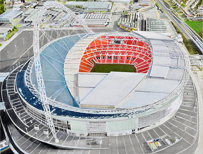 Rugby Painting - Wembley Stadia Art - England National Stadia by Brian Casey