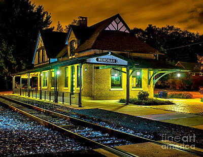 Photograph - Wenonah Train Station At Night by Nick Zelinsky