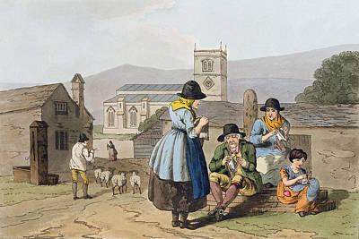 Rural Scene Drawing - Wensleydale Knitters, From `costume by George Walker