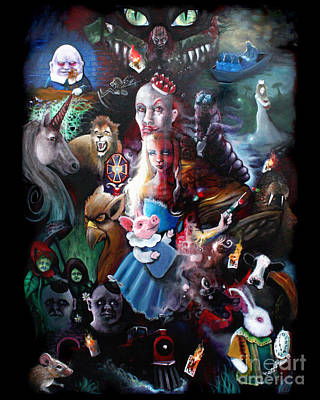 Childrens Story Book Painting - We're All Mad Here by Michael Parsons