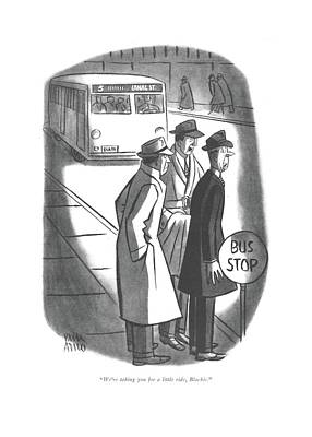 Drawing - We're Taking You For A Little Ride by Peter Arno
