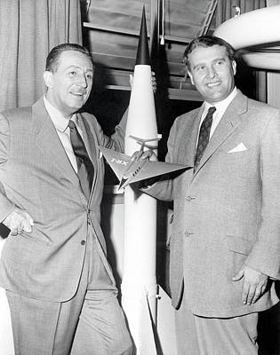 Rocket Science Photograph - Wernher Von Braun And Walt Disney by Nasa/marshall Space Flight Center