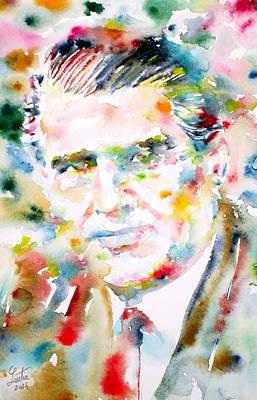 Wernher Von Braun Painting - Wernher Von Braun - Watercolor Portrait by Fabrizio Cassetta
