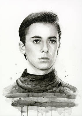 Watercolor Portraits Painting - Wesley Crusher Star Trek Fan Art by Olga Shvartsur