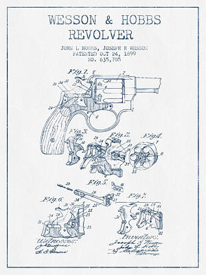 Wesson Hobbs Revolver Patent Drawing From 1899 -  Blue Ink Art Print by Aged Pixel