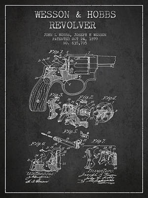 Wesson Hobbs Revolver Patent Drawing From 1899 - Dark Art Print by Aged Pixel