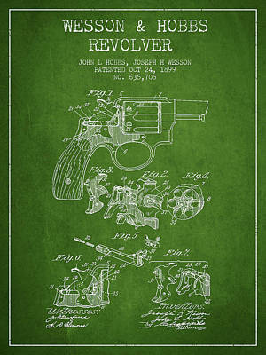 Wesson Hobbs Revolver Patent Drawing From 1899 - Green Art Print by Aged Pixel