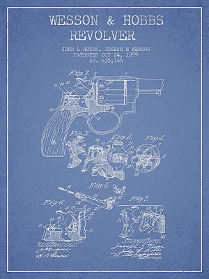Wesson Hobbs Revolver Patent Drawing From 1899 - Light Blue Art Print by Aged Pixel