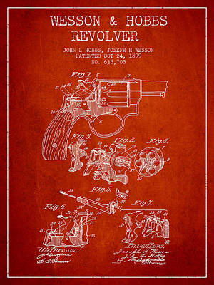 Wesson Hobbs Revolver Patent Drawing From 1899 - Red Art Print by Aged Pixel