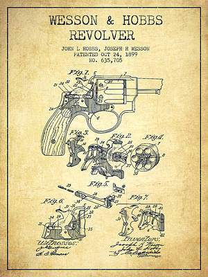 Wesson Hobbs Revolver Patent Drawing From 1899 - Vintage Art Print by Aged Pixel
